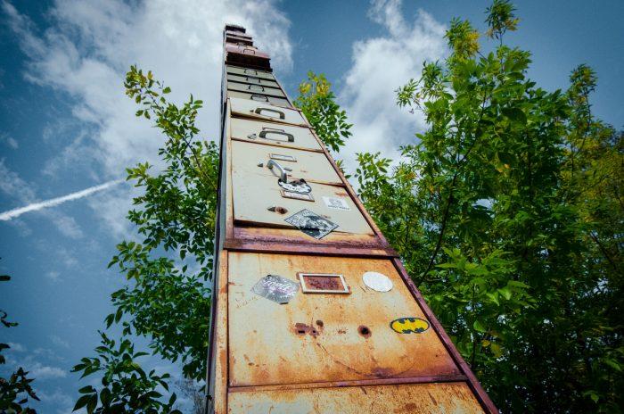 9.  The world's tallest file cabinet (Burlington), ladderback chair (Bennington) and the largest zipper (Barre).