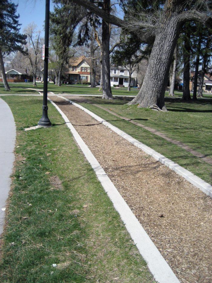 A jogging path circles perimeter of the park.