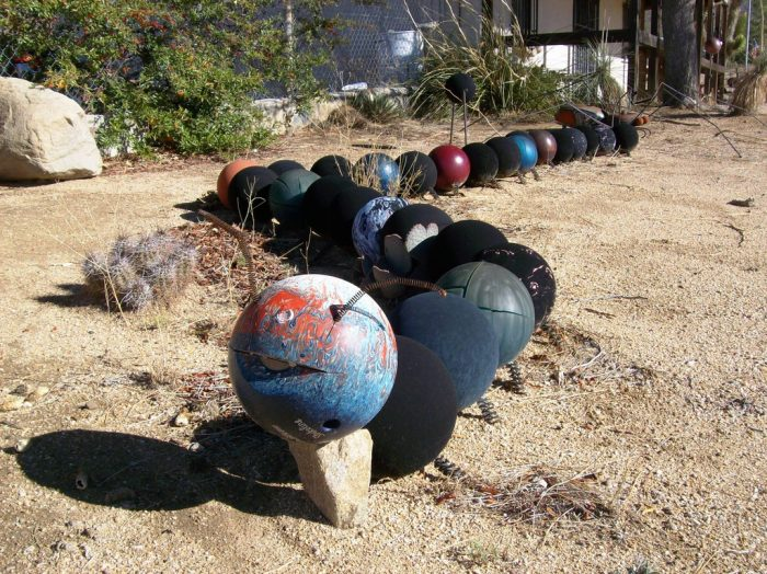 8. The junk art scattered around Chloride is another strange sight!