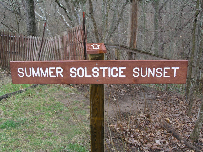 Although the original purpose of the earthwork is still unknown, markers at the sight point toward the summer solstice sunset, as the oval two-head area is aligned with the summer solstice sunset.