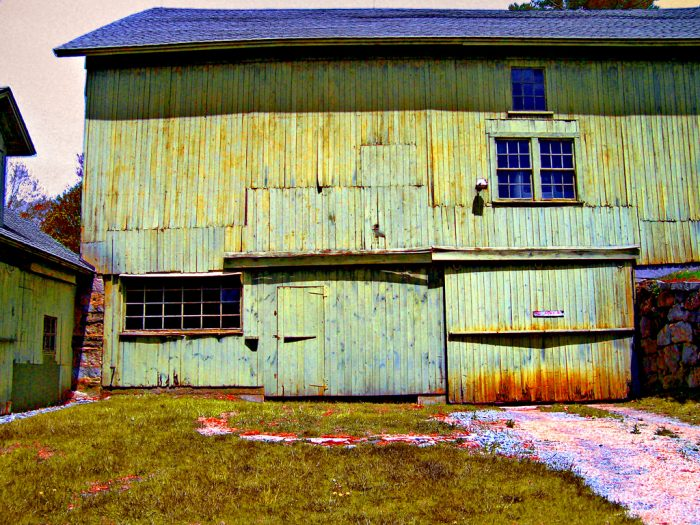 1. This wooden barn in Litchfield has neon shades of green.