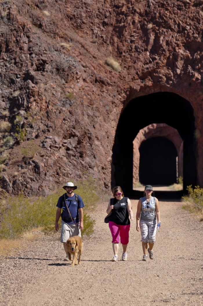 It's an easy hike along flat dirt and gravel surfaces.