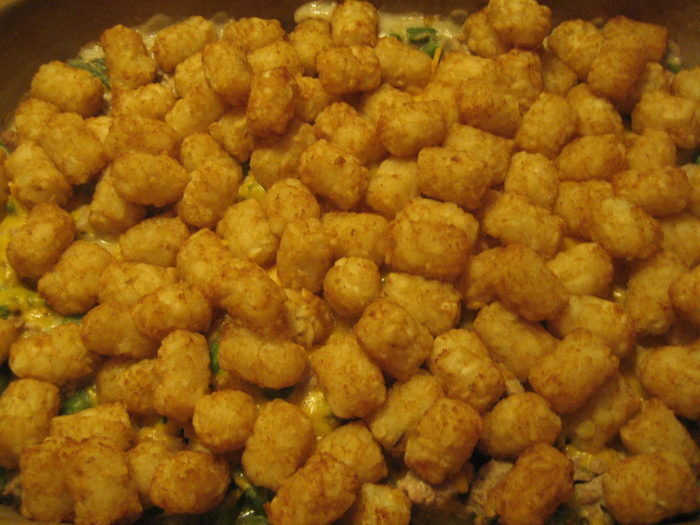 9. Hot dish = tots + green beans + condensed soup.