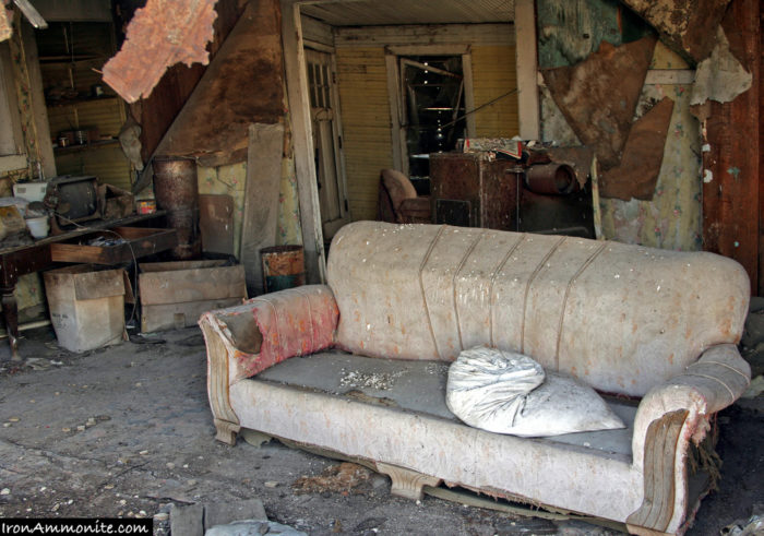 Some homes even have tattered furnishings left inside.