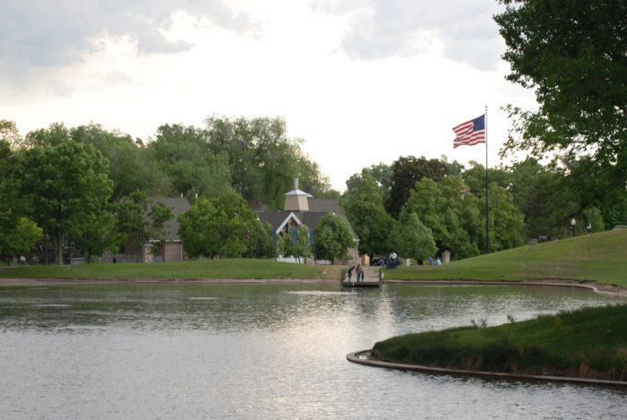The large pond is a habitat for ducks, geese and other birds.