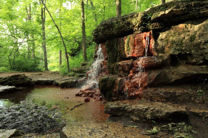 "While you're in town, find the official ""Yellow Spring"" (which actually looks more orange than yellow) at the Glen Helen Nature Preserve."