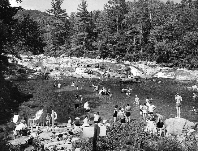 9. These swimmers at the Lower Falls along the Kancamagus Highway look just like swimmers today!
