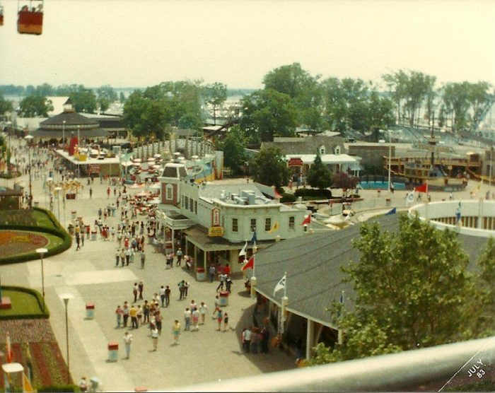 13. View of Main Midway from the Sky Ride at Cedar Point: circa early 1980s
