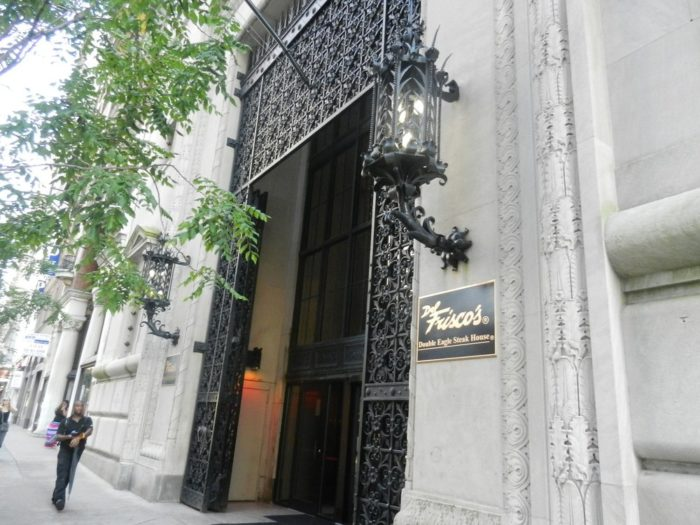 Enter through the elegant doors at the front of the former bank to a sweeping view of some of the 24,000 square feet of floor space of Del Frisco's Double Eagle Steakhouse.