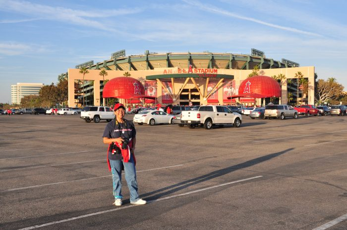 Arriving early for the Angels vs. Red Sox playoff game