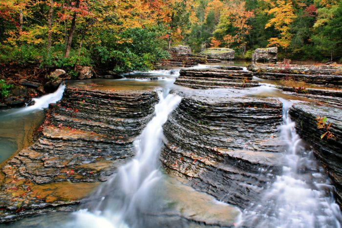 Skirting the edge of the Richland Creek Wilderness, you'll find five waterfalls. They're all just a few miles south of the Richland Creek campground, on Falling Waters Creek.    Among those is Six Finger Falls . . .