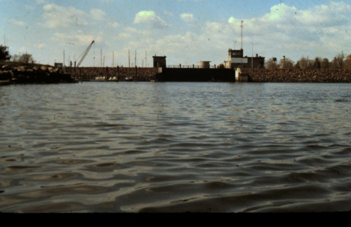12. This shot captures the Stamford Hurricane Barrier in 1978.