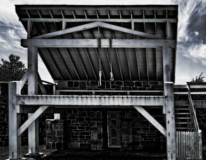 Judge Parker sat on the bench at Fort Smith for 21 years, but the original gallows predated him by a few years. The gallows were the instrument of death for 86 people sentenced to hang for capital offenses.