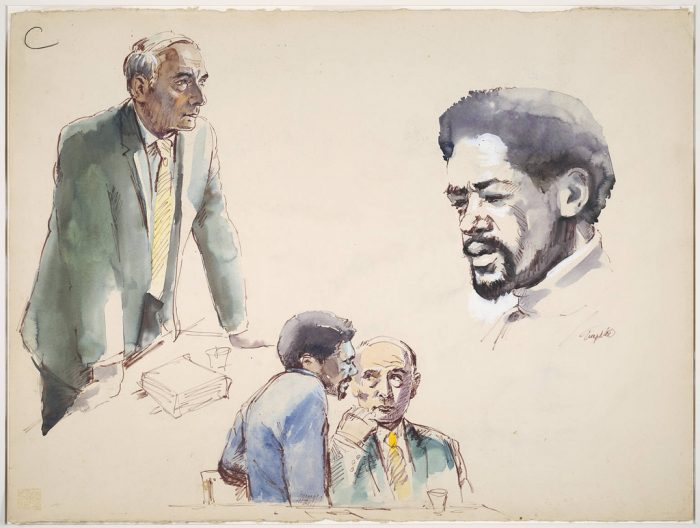 2. Robert Templeton drew these during the New Haven Black Panther trials of the 1970s. This is an ink and watercolor sketch.