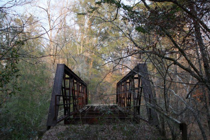 6. This abandoned pony truss bridge spans over Bull Slough in Cohassett, Alabama.