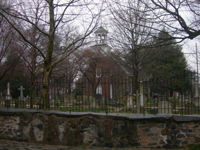 5. The entire church looms over the historic Old Swedes graveyard, keeping an eye on the resting souls.