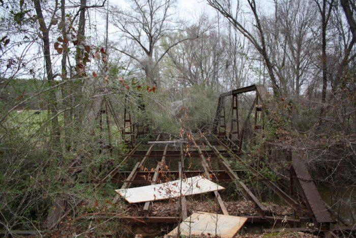 8. This abandoned 1915 Pratt pony truss bridge spans over Highpine Creek in Randolph County, Alabama.