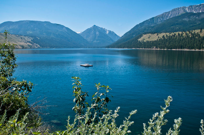 This stunning lake is surrounded by gorgeous mountain peaks.