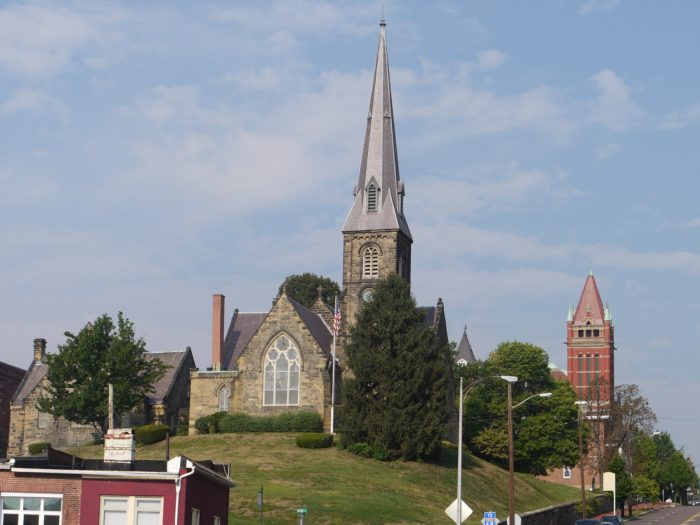 The town of Cumberland is a charming sight to behold. Church steeples stand out among the town, looking like a scene from a postcard.