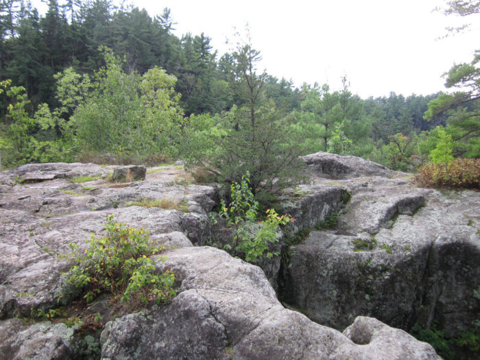 Down the trails you'll find angle rock which creates a sharp 90-degree turn in the river.