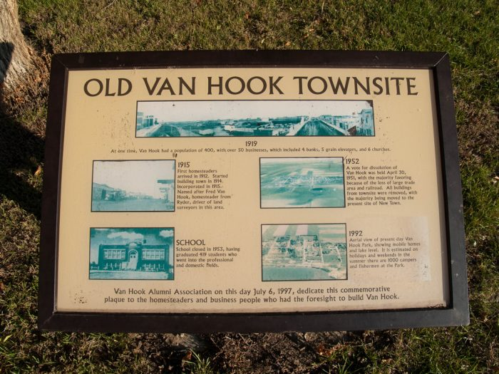 This sign shows pictures of the old Van Hook town, now deep under the lake.