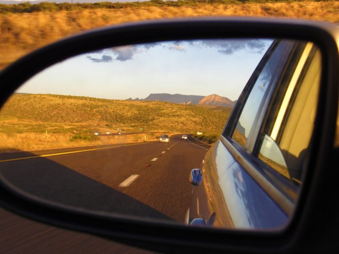 A few miles in, this is what you'll see in the mirror: a dramatic change in the landscape.