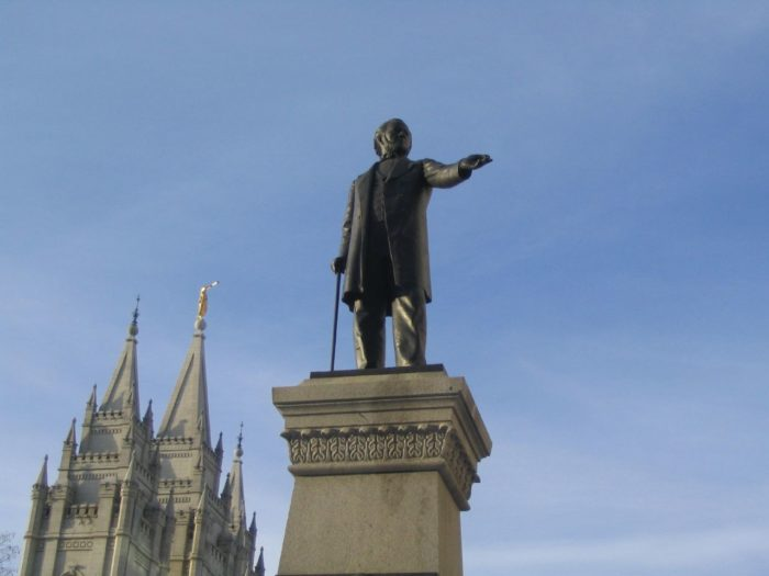 5. The legend of Brigham standing majestically with his walking staff to survey the valley is not quite accurate.