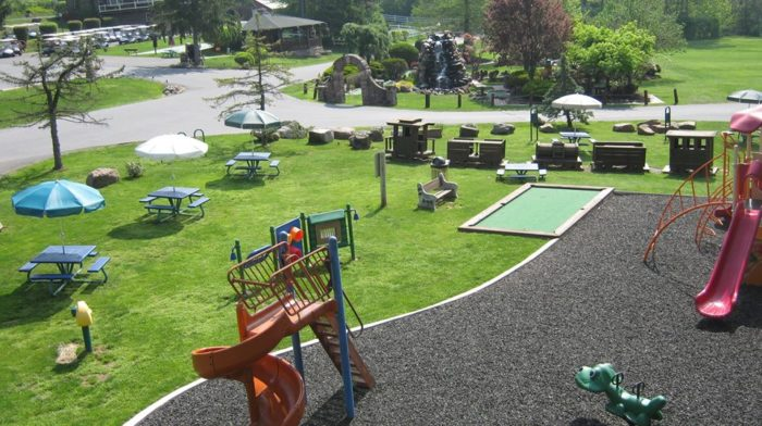 Enjoy a picnic lunch while the kids climb ladders and slip down slides at the playground.