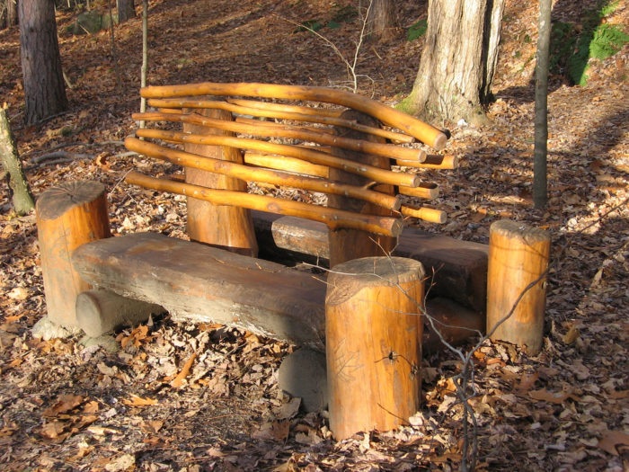 You'll love the handcrafted benches along the Hubbard Park Tower Trail.