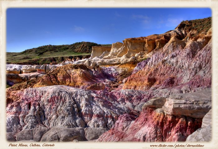 Located near Calhan, the Paint Mines Interpretive Park is a 750-acre geologic wonder composed of colorful chalky spires, canyons, and gullies.