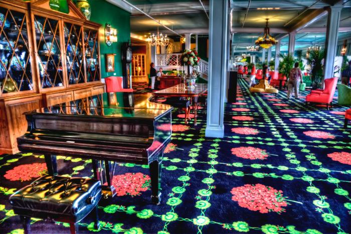 The lobby at the Grand Hotel on Mackinac Island.