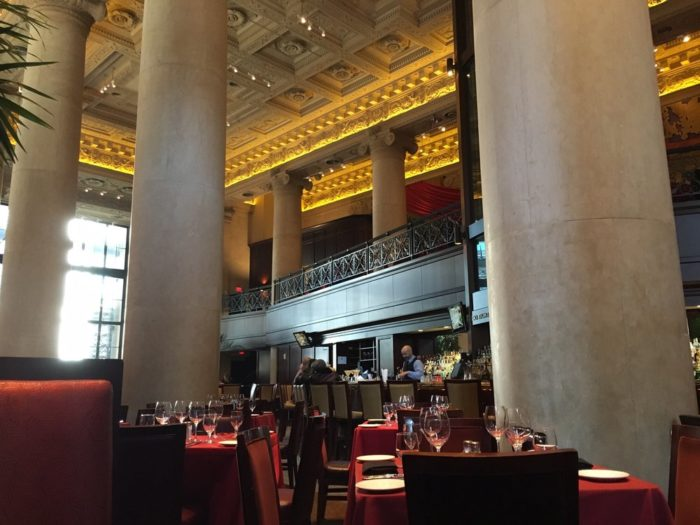 The main dining room offers a prime view of the Mezzanine, which overlooks the restaurant. Either dining spot affords beautiful views of the restaurant's large columns and intricately designed ceiling.