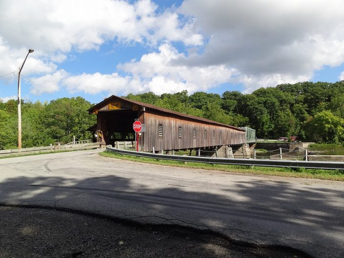 Along the way, you'll see several beautiful bridges, including Hapersfield Covered Bridge (pictured below), which used to be the longest covered bridge in America.