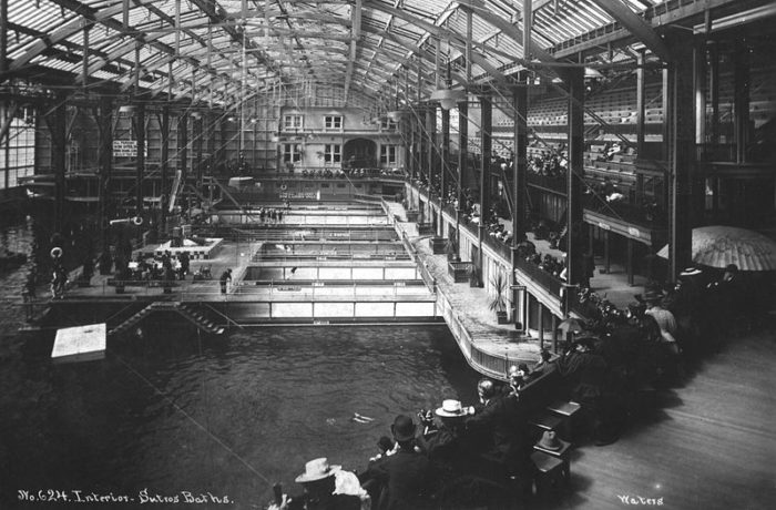 5. Inside Sutro Baths in the Late 1890s & Now