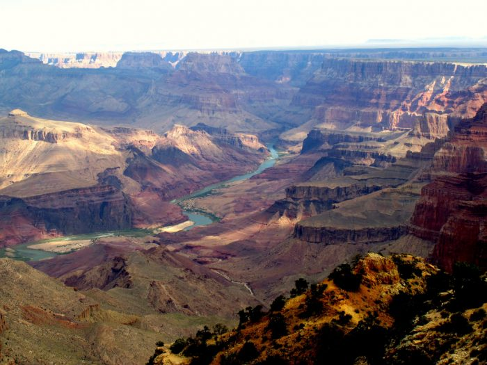 5. The environment here is incredibly diverse. We have the stark, stone view of the canyon...