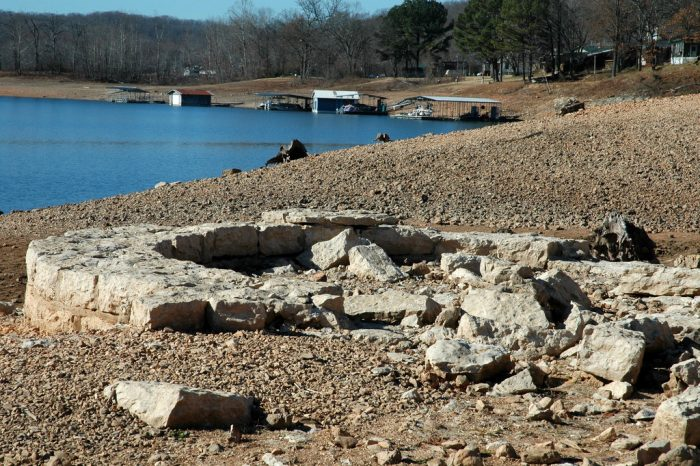 Monte Ne isn't always  an underwater ghost town. Sometimes it's a partially submerged ghost town. When the water levels are very low, you can find all kinds of ruins scattered on the shores of Beaver Lake.