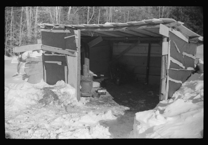 11.  Lumbermen's shack near Barnard where they can get warm, eat their lunch, and house the tractor with which they haul logs to the road where they are picked up and hauled to the mill by truck.