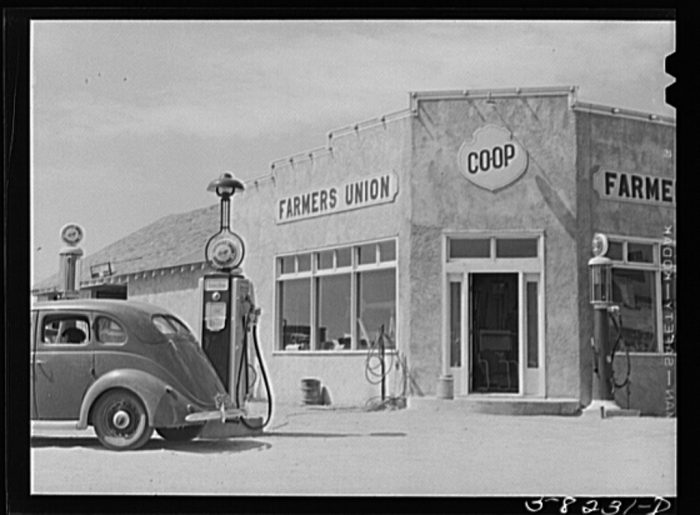 2. A cooperative gas station in Grenora, North Dakota. 1941