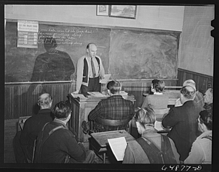 1. Meeting in a rural schoolhouse for the Food for Victory program. 1942