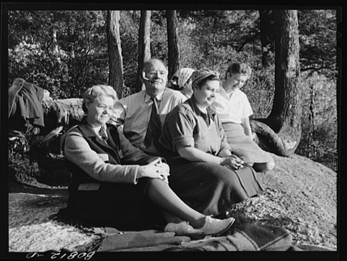 3. New England school teachers on a picnic in Savoy Mountain State Park.