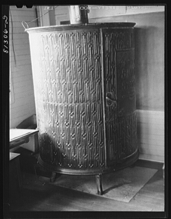 2. The stove in a one-room schoolhouse. Savoy Mountains area, 1931.