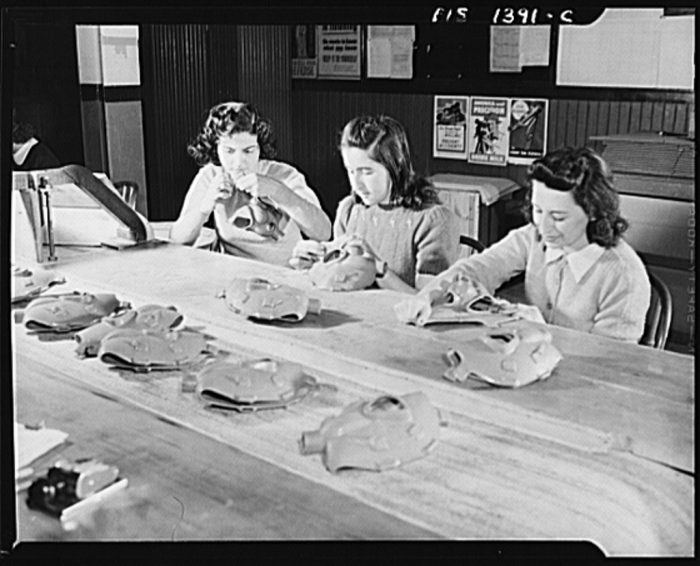 6. Young girls were also kept busy during school hours during WWII by manufacturing gas masks.