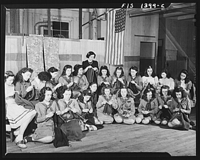 7. A girl scout troop in New Bedford, 1942.