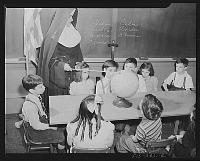 12. Geography class in New Bedford, 1942.