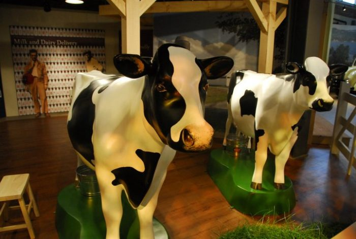 The Turkey Hill Experience welcomes visitors to practice milking a cow (not a real one, of course).