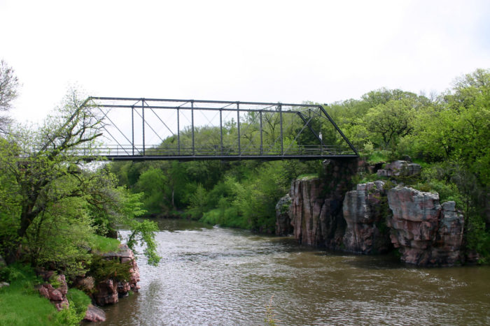 9. Bridge connecting natural rock formations in the Pallisades State Park.