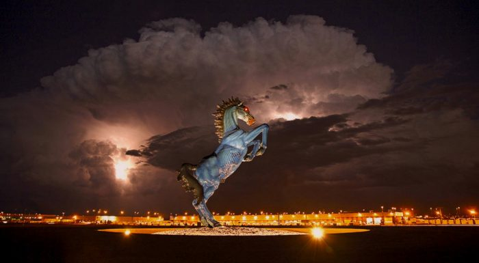 """10. We're also home to the infamous 32-foot-tall """"Devil Horse"""" with glowing red eyes and a storm of controversy."""