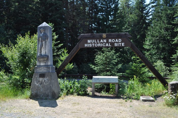 """The Mullan Road Historical Site just off of I-90 memorializes John Mullan's name with a """"Mullan Statute."""" Numerous others can be found at key points of the route all across Washington and Montana as well."""