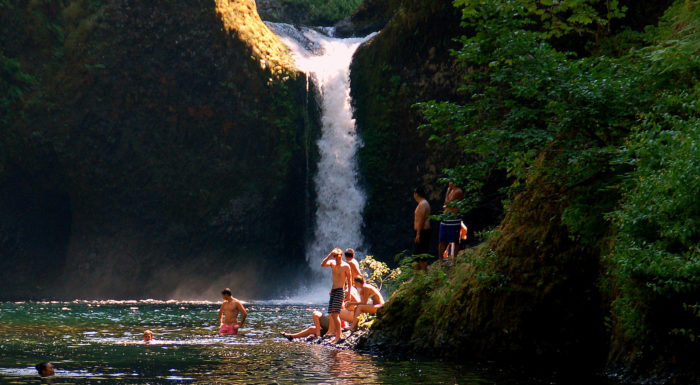At the base of the waterfall, you can relax in the sun and then cool off in the fresh, glittering water.