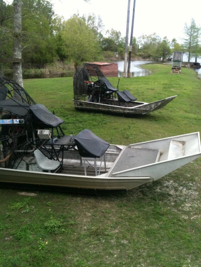 """There are also individual airboats for tours, also known as """"cajun cadillacs""""."""